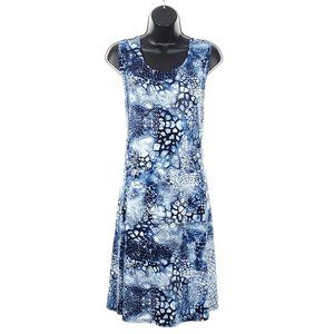TANJAY Petite Summer Shift Dress Stretch Blue